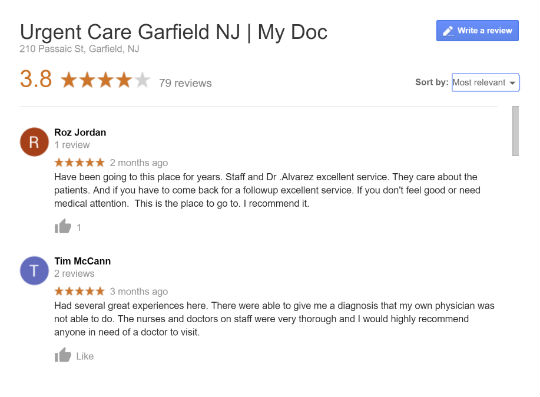 My Doc google reviews